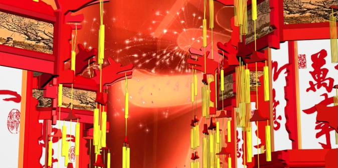 中国结烟花灯笼背景视频素材