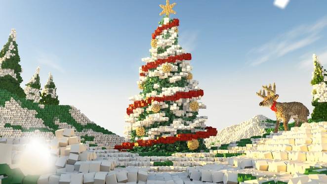 创意方块泡沫形成圣诞树的视频素材