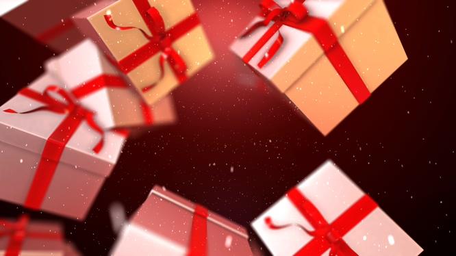 节日礼物盒从天而降的视频素材