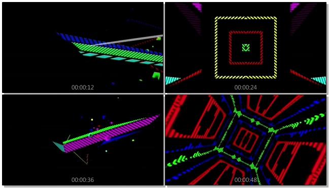 时尚彩色立方体灯光闪烁的视频素材
