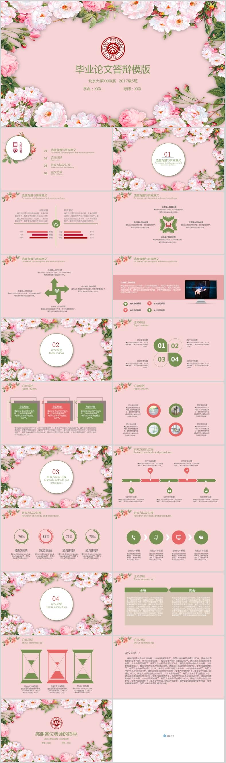 多彩花朵毕业论文答辩PPT模板
