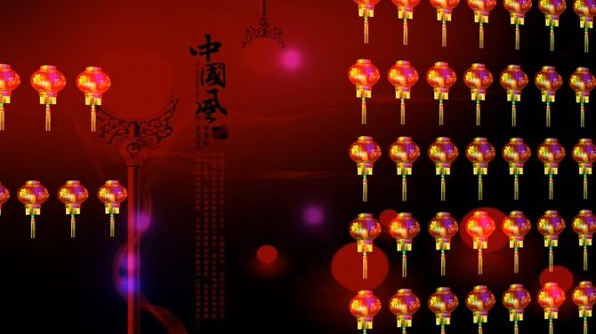 大红福字灯笼列阵音乐背景视频素材