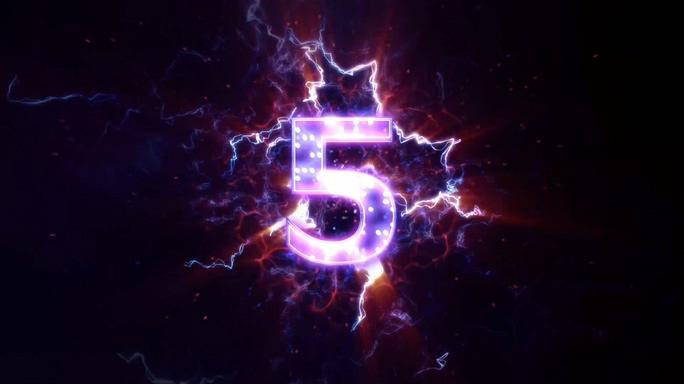 粉紫色闪电倒计时10秒背景视频素材