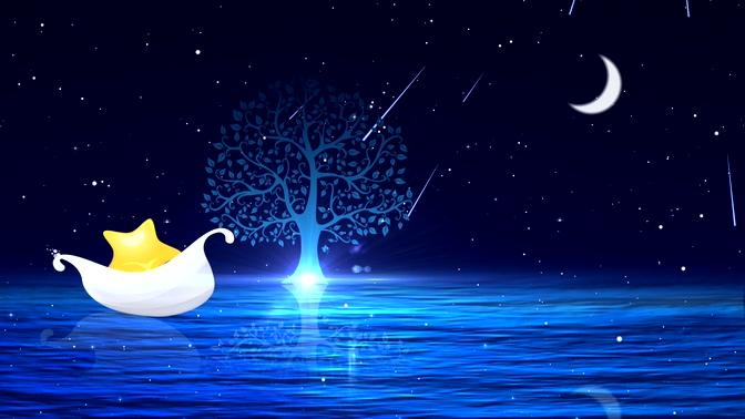 星空粒子月亮小船小树流星背景视频素材