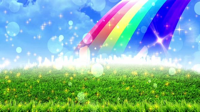 草地彩虹泡泡星光背景视频素材