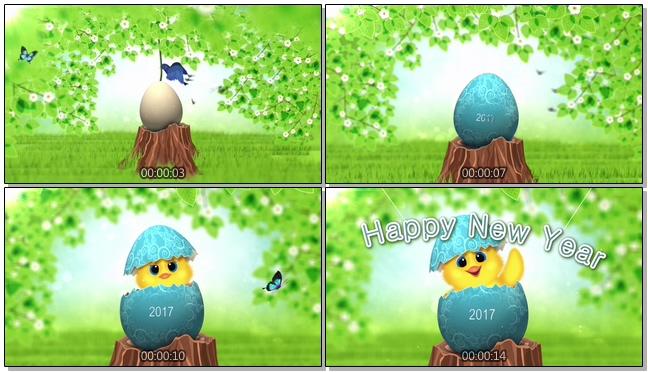 小鸟破壳而出喜迎新春的视频素材