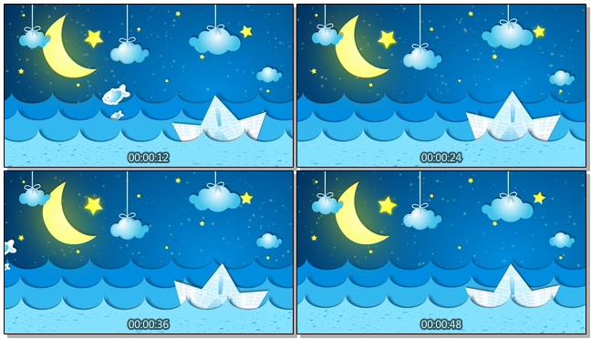 浪漫唯美的卡通星空海洋视频素材