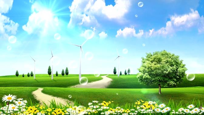浪漫唯美的泡泡飘上天空的视频素材