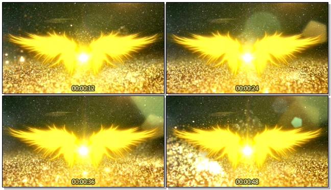 唯美金色天使翅膀婚礼开场背景视频
