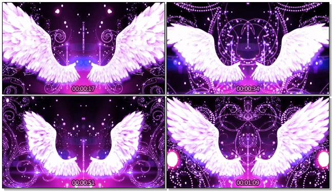 紫红唯美天使翅膀背景视频