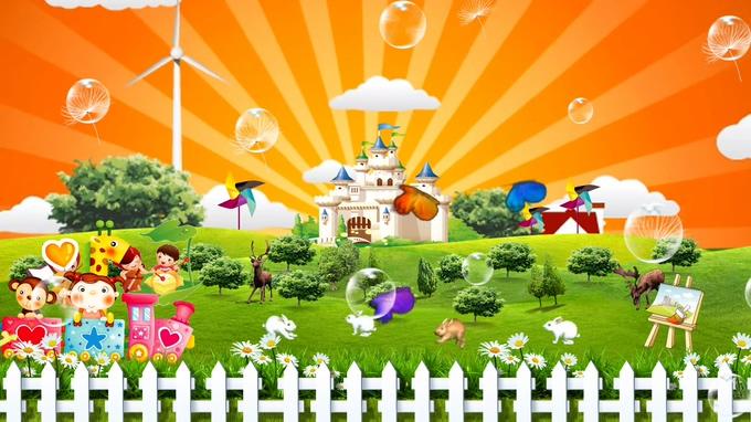 卡通小房子背景视频素材