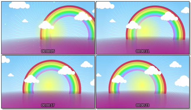 唯美梦幻的卡通彩虹视频素材