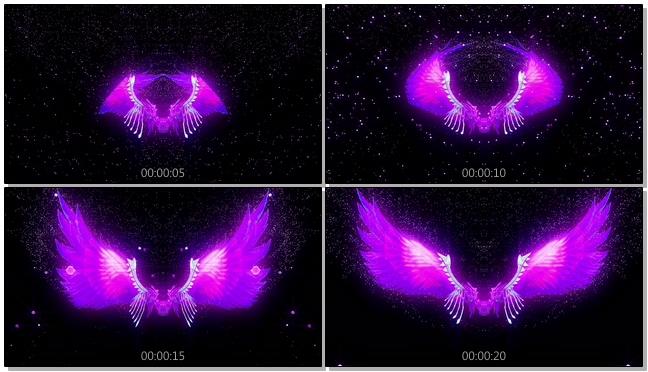 浪漫紫红粒子翅膀婚礼开场背景视频