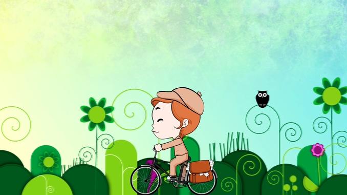 小孩骑单车上学校卡通儿童背景视频素材