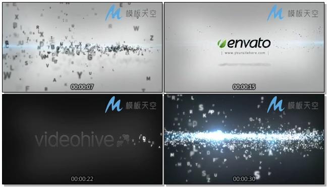 散乱飞舞的字母文字汇聚logo片头视频AE模板