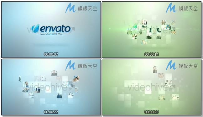 炫光汇聚图文logo片头视频AE模板