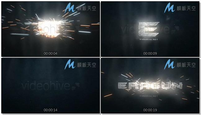 火光四射的文字logo片头视频AE模板