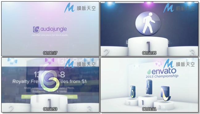 微立体颁奖台动态文字LOGO片头视频AE模板