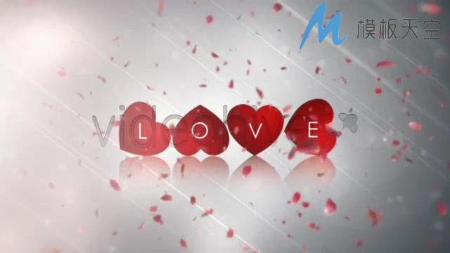 爱的指引花瓣情人节婚庆婚礼视频AE模板