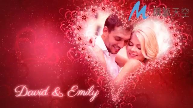 红色花朵爱心浪漫婚庆婚礼视频AE模板