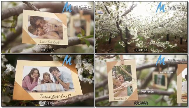 动态欢乐果园花卉照片图片文字AE模板