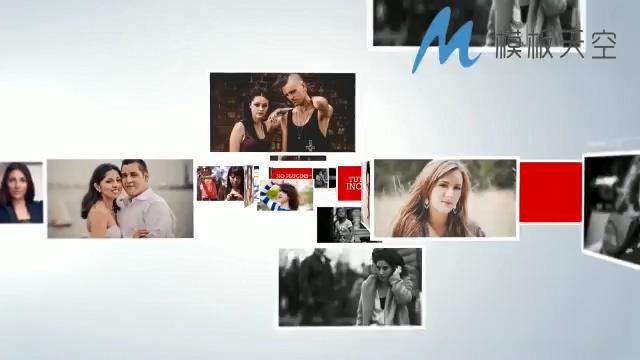 照片影像文字组成公司LOGO的AE模板