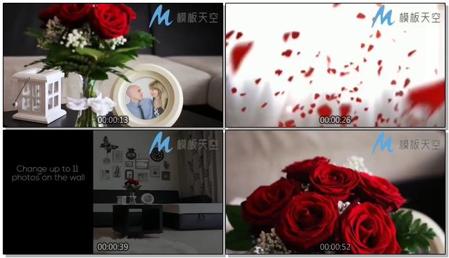 情人节玫瑰花浪漫婚庆婚礼视频AE模板