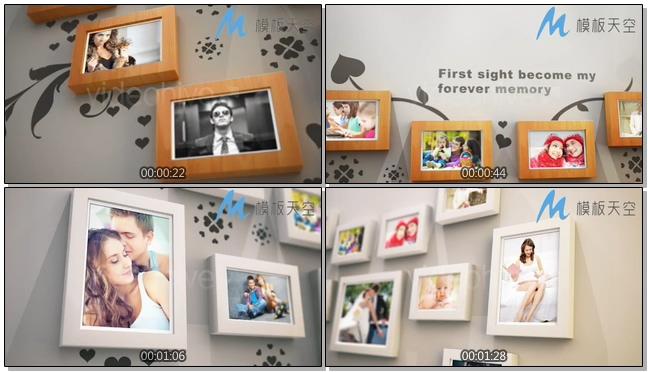 心形微立体相框相册婚庆婚礼视频AE模板