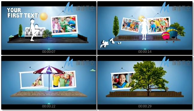 简洁多彩儿童照片图片文字AE模板