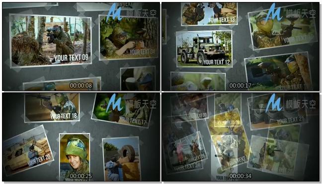 周末迷彩战争照片图片文字AE模板