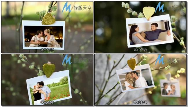 小清新时尚动态相片夹图片文字AE模板