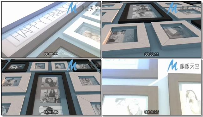 家庭欢乐照片墙图片文字AE模板