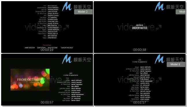 电影动态信用卡片文字片尾影视包装AE模板