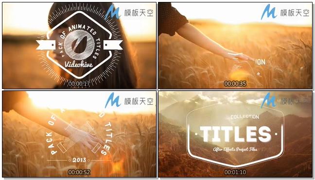 夕阳麦穗阳光文字LOGO标题AE模板