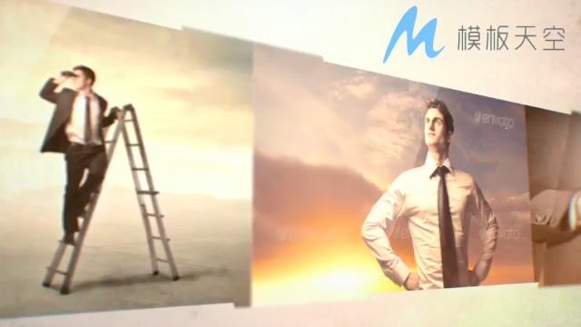 扁平大屏照片拼接AE模板