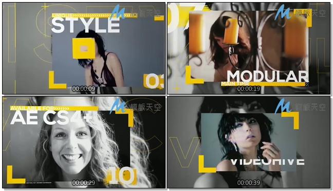 时尚杂志彩色字体动感图片AE模板