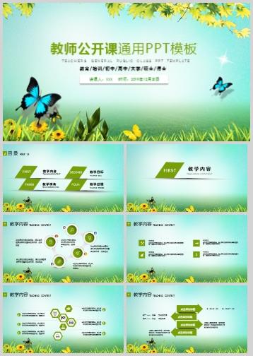 蝴蝶叶子教师公开课通用PPT模板