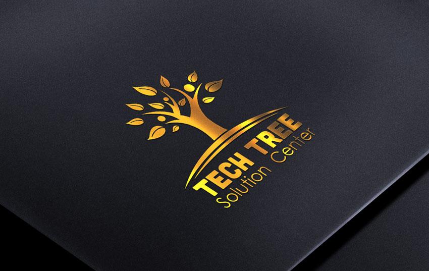 金色大气时尚树木LOGO图标