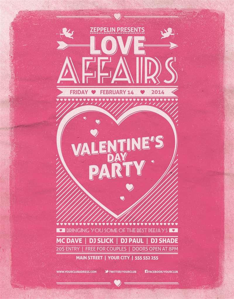 粉色浪漫情人节海报广告设计