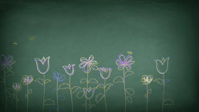 用粉笔在黑板上画出春天景色的视频素材
