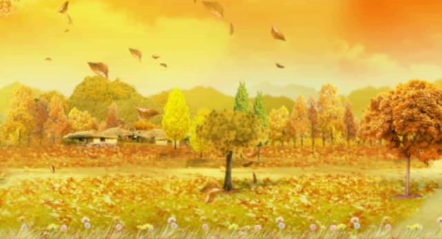 唯美梦幻的枫叶飘落怀念校园生活的视频素材