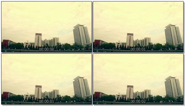 学校操场运动场实拍视频素材(有声音)