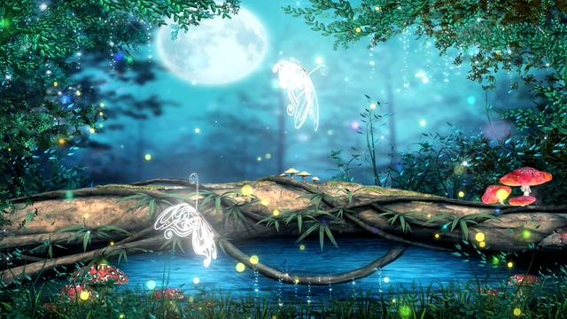 白色透明蝴蝶在梦幻森林中飞舞的视频素材(有音乐)