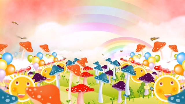 蝴蝶在五颜六色的蘑菇丛中飞舞的视频素材
