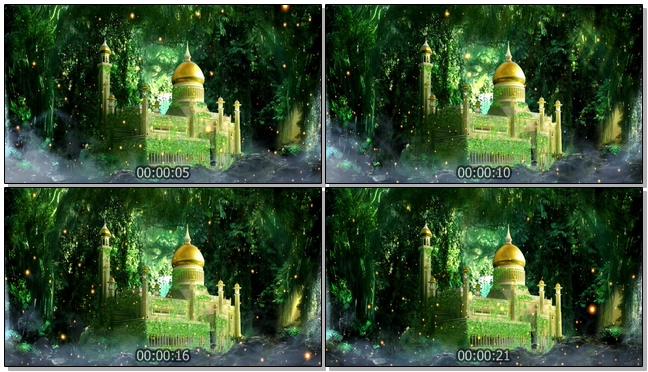 古老城堡坐落在梦幻的森林中的视频素材