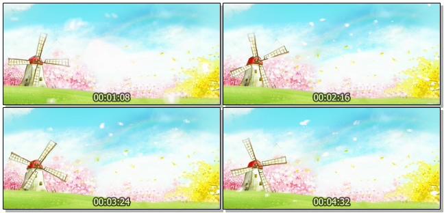浪漫唯美的大风车吹起花瓣视频素材