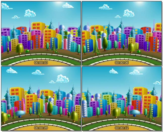 时尚旋转的卡通城市风光视频素材