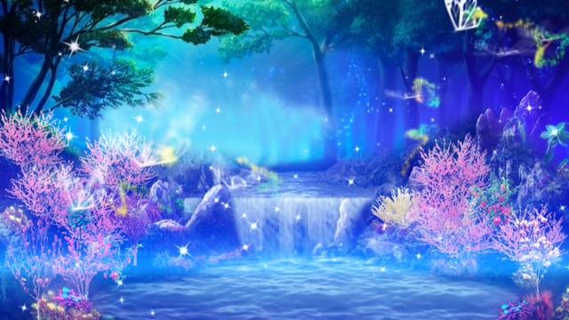 蝴蝶在唯美梦幻的瀑布仙境中飞舞的视频素材(有音乐)