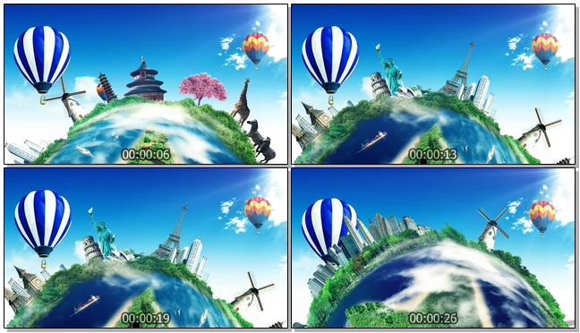 动画演示环绕地球旅游的背景视频