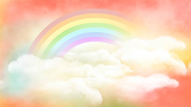 穿梭在云彩之间的彩虹创意背景视频